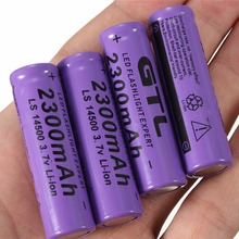 4Pcs 3.7V 2300mAh 14500 AA Li-ion Rechargeable Batteries 2A Lithium NiMH NiCd Battery Baterias Bateria Purple