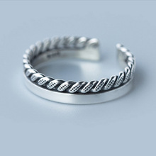 New female Thailand silver spiral smooth two types open ring