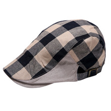 2016 free shipping New Men Women Checked Duckbill Ivy Cap  Driving Flat Cabbie Newsboy Beret Hat