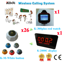 Wireless Waiter Calling Systems 433.92mhz For KFC, Coffee Shop, KTV, Restaurant Pagers(1 display+ 1 watch+ 26 call button)(China)