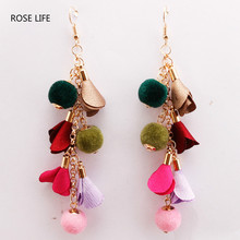ROSE LIFE Fashion wild female long section multi-layer bohemian earrings simple personality flower hair ball earrings(China)