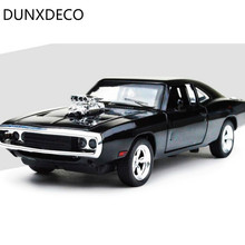 DUNXDECO 1:32 Alloy Craft Simulation Miniature Film Car Charger Scale Metal Car Model Diecast Desktop Decoration Men Kids Gift(China)