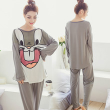 Long sleeve pajamas sets for women Cartoon bugs bunny milk silk sleepwear lady Casual spring and autumn nightwear clothes