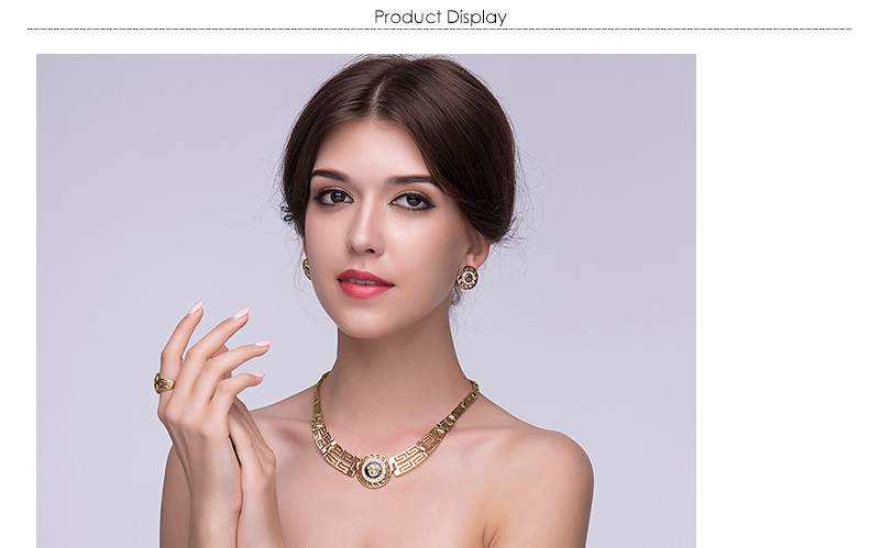 AYAYOO African Dubai Jewelry Sets 2018 Nigerian Gold Color Jewellery Sets For Women Wedding Imitation Crystal Necklace Set (1)