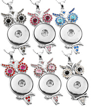 G00040 Snap Necklace Jewelry Pendant With Charm Stainless steel Chain Owl Necklace Fit 18mm Rivca Snaps Button Jewelry For Women