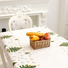 1PCS PVC christmas table cover party disposable plastic tablecloth Festive Rectangle Oblong Table Cloth Xmas Tableware 110*180cm(China)