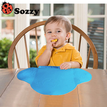 Sozzy Baby Table Mat Coton Antibiosis Waterproof Tableware Silicone Pad Mat Placemat for Baby Feeding Tiny Diner