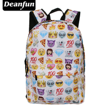 Deanfun Unisex Boys Girls Backpack School Rucksack Fully Printed Cabin Luggage Emoji Travel Bag(China)