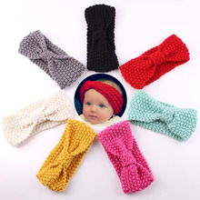 1PC Winter Warm Crochet Knitting Turban Headwrap Kids Children Knotted Headband Solid Color Hairband Boys Girls Hair Accessories