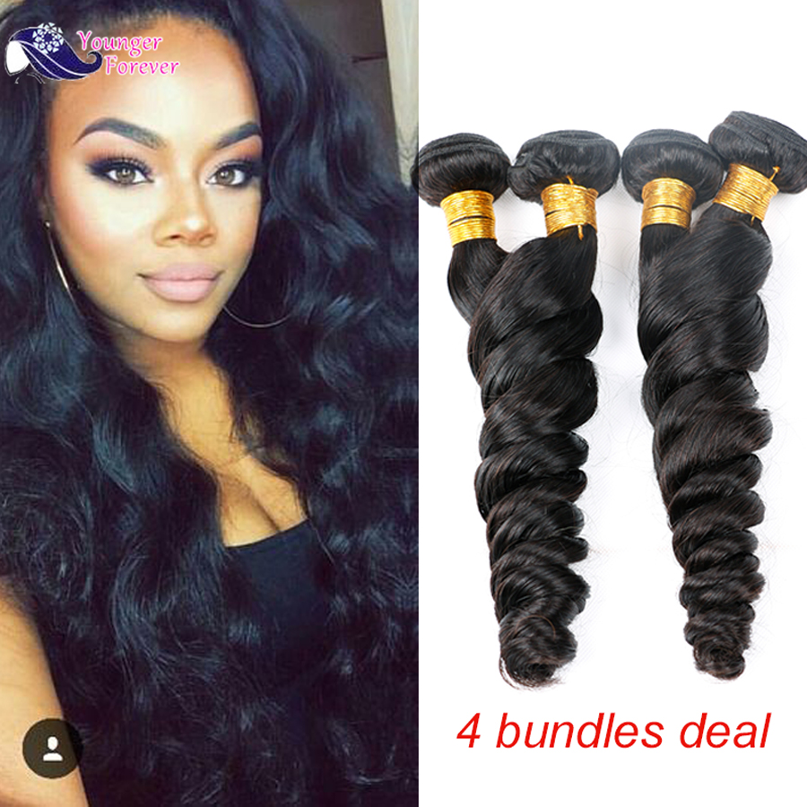 7A Malaysian Loose Curls Weave Remy Human Hair Extensions Natural Malaysian Virgin Hair Loose Wave 4 Bundles<br><br>Aliexpress