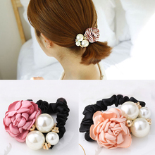 Women Ribbon Big Rose Flower Pearls Hair Accessories Fabric Floral Headband Elastic Hair Band Rim Girls Ponytail Holder Scrunchy(China)