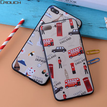 Fashion 3D Embossing Case Coque For Apple iphone 7 plus 7 Colorful Lucky Cat London Soldier Bus Pattern TPU Cover For iphone 7