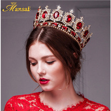 Mansati Luxurious Big Round Crown Red Rhinestone Gold Crowns and Tiaras Wedding Bridal Crystal Tiara Queen Crown Head Jewelry