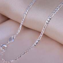 "Necklace Men's chain necklace Silver plated Figaro Chain Necklace length 16-30"" stock wholesale Fashion Cheap linked Jewelry"