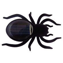 Mini Solar Powered Energy Cute Spider Gadget Gift Educational Toy For Kids Children - Black