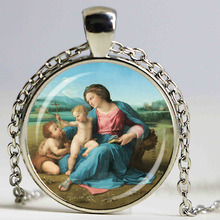 Blessed Virgin Mary Mother of Baby necklace Jesus Christ Christian pendant Catholic Religious Glass Tile DIY Jewelry Gift(China)