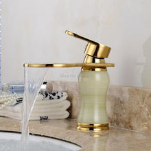 Free shipping Retro Faucet Design Water Spout Copper With Marble Stone Bath Golden Waterfall Basin Hot And Cold Faucet Tap ZR466