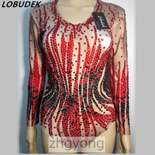 Full diamond female leotard bodysuit jumpsuit sexy nightclub bar red Rhinestones Rompers Crystals groom slim stage costume party(China)