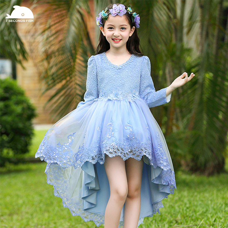 christmas dress 2017 girls dress formal fashion  embroidery long sleeve Floral autumn winter wedding dress <br>