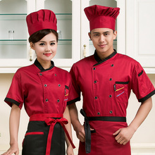 new Summer Short-sleeved Chef service Hotel working wear Restaurant work clothes Tooling uniform Chef Jackets 4 color