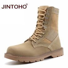 JINTOHO Unisex Winter Boots Fashion Work & Safety Men Boots Cow Suede Male Shoes Mid-Calf Leather Male Boots Winter Shoes(China)