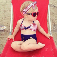 2017 Baby/Infant Girls Kids Tankini Bikini Suit Button Striped Bottoms Beachwear Swimsuit Swimwear Girl's Bathing Suit GBK011(China)