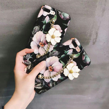 Luxury Color Camellia Flower Chain Hard Decal PC Case For iPhone 7 6 6S Plus Phone Cover Back For iPhone 6 7 6S(China)