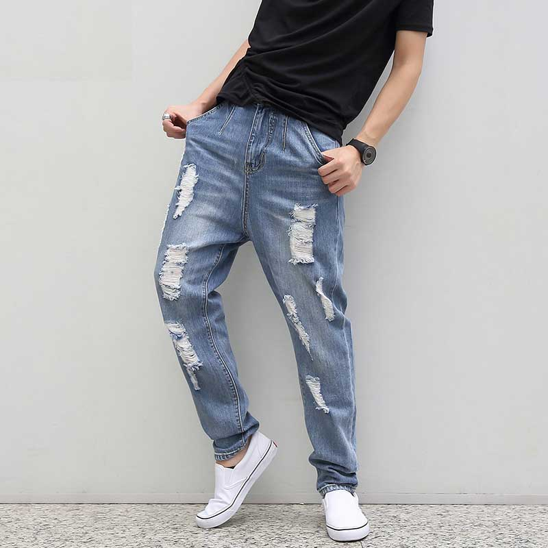 Causal Plus Size Ripped Jeans For Men Loose Hole Harem Jeans Light Wash Hip Hop Baggy Distressed Harem Jeans M-6 XLÎäåæäà è àêñåññóàðû<br><br>