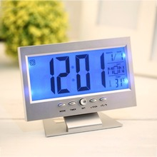Voice Control Electronic LCD Alarm Clock Back-light Weather Monitor Calendar Desk Clock With Thermometer 2 Colors Drop Shipping(China)