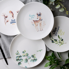 Fine Bone China Disk Art American Northern Europe Pop Olive Branch Tropical Flamingo Simple Illustration Ceramics Service Plate(China)