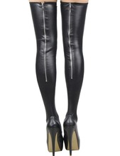 Buy 2019 new Sexy Wet Look Metal zipper Stockings Women Pole Dance Latex Stockings PU Leather Night Clubwear Stockings