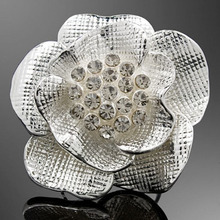 Romantic Three-dimensional Big Rose with Rhinestones Flowers Adjustable Alloy Statement Ring Women's Fashion Jewelry(China)