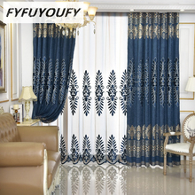 100% Polyester European embroidery curtains for Living Room with high-end custom Voile Curtain for Bedroom window treatment(China)