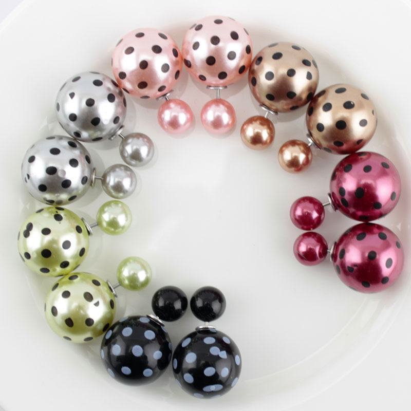 6 Pairs/lot Colorful Two Side Double Ball Pearls Stud Earrings For Women Fine Jewelry Earrings Supplier(China)