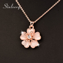 SINLEERY Fashion Solid Opal Plum Flower Pendant Necklace Rose Gold Color Wedding Jewelry For Women Girl Bijoux Femme Xl260 SSJ(China)