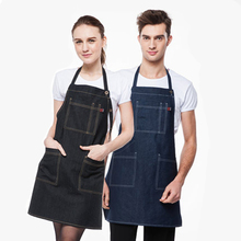 2017 New korean fashion cotton denim apron coffee tea shop short apron kitchen work clothing waiter aprons for women men gift(China)