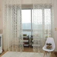 2017 Modern Solid Sweet Embroidered Voile Curtains Floral Tulle Voile For Living Room Window Curtains/Screening 1m x 2m 6 Color
