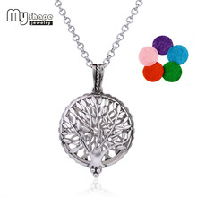 my shape Women Accessories Hollow Tree Of Life Round Pendant Essential Oil Perfume Diffuser Necklace Magnetic Therapy Jewelry