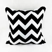 "18""*18"" Decorative Modern Black White Chevron Zig Zag Throw Cushion Cover Pillow Case for Sofa Bedding Couch Home Decor(China)"