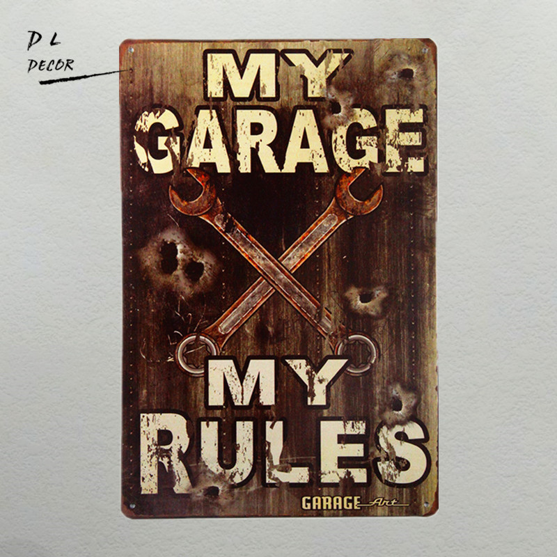 DL-My Garage - My Rules sign Vintage style made from 24 garage metal with rusted corners for the Vintage Sign look(China)
