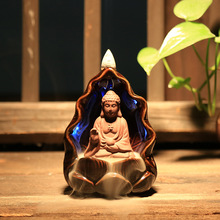 Creative Gift Chinese Ceramic Buddha Guanyin Monk Lotus Led Smoke Backflow Incense Burner Home Decor Ornament Aroma Censer Base