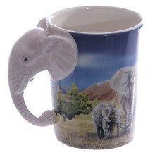 Free Shipping 1Piece Wonderful Savannah ! Elephant Shaped Handle Mug Elephant Cup with Savannah Decal