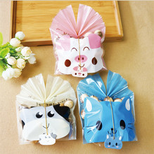 50&100pcs/lot Cute Cat Cow Piggy Cookie Bag Bread Bag Candy Package Snack Bag Jewelry Bags Baking for children Gift Package