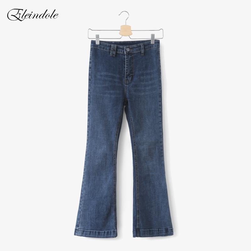 Eleindole 2017 Winter Ladies Jeans High Waist Good Elastic Leisure Women Jean Blue Korean Style Casual Female Flare JeansÎäåæäà è àêñåññóàðû<br><br>