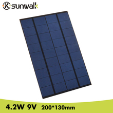 SUNWALK 4.2W 9V DIY Mini Solar Panel Polysilicon 460mA Solar Panel Cell DIY Solar Module for DC Battery and Test 200*130mm(China)