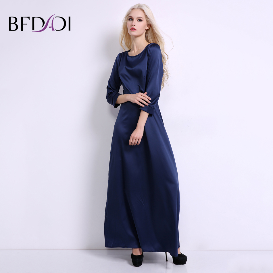 BFDADI Summer Maxi Dress Solid color Long Party Dress Women Elegant Casual Floor-length O Neck Vestidos Sexy dress BF020