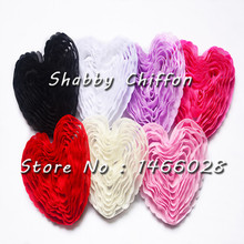 100 pcs/lot , 3 ''  shabby flowers  , soft chiffon lovely  heart  headband  for  valentine's day 6 colors