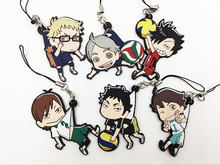6PCS/LOT haikyuu Silicone mobile phone charms Action Figure Anime cell phone strap charm