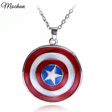 MQCHUN Fashion Marvel Movie Jewelry The Avengers Captain America Shield Pendant Charm Necklace Bending Chain Necklace Jewellery