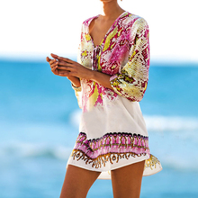 Pareos Robe de plage Swimsuit cover up 2018 Chiffon Print Snake Beach Cover up Bathing suit Cover ups Swimwear Cover up(China)